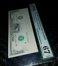 $50 • 1985 • FEDERAL RESERVE NOTE CLEVELAND 👉67👈 Insufficient Inking Error.