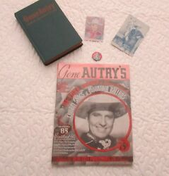 Collection Of 5 Gene Autry Items. 1938 Songbook 1948 Book Vintage Pin +2.