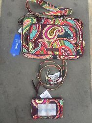 Vera Bradley Heirloom Paisley Lot Of 3 Lanyard,id Case And Little Hipster Nwt F/s