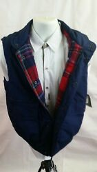 Mens Blue Flannel Red Plaid Lined Camping Insulated Vest Medium Whitefish Bay