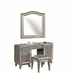 Set Of 3 Metallic Vanity Table And Stool With Mirror