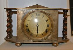Arts And Crafts Style Silvered Mantle Clock, Not Working