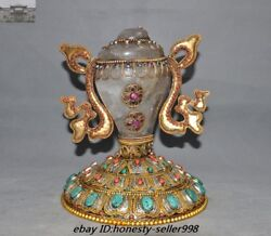 10rare Tibet Temple Crystal Filigree Inlay Jewel Coral Conch Trumpet Horn Shell