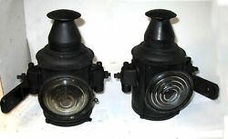 Pair Can Shaped Oil Sidelamps Lights Off Chain Drive Mack Truck Bulldog Ab Ac