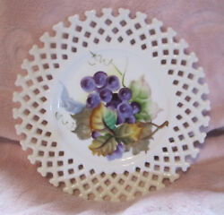 Lefton China Plate Reticulated Hand Painted Collector's Dish Plate 6350 Fr 1950s