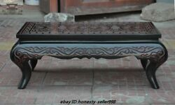 """Old Chinese Palace Lacquerware Wood Hand-carved """"夀"""" Writing Desk Desks Tea Table"""