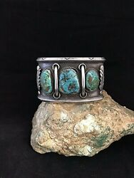Old Pawn Sterling Silver And Turquoise Cuff Bracelet