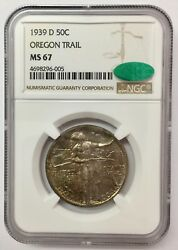1939-d 50c Oregon Trail Silver Commemorative Ms 67 Ngc And Cac