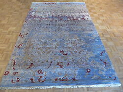 6'6 X 9'8 Hand Knotted Sky Blue Wool And Silk Modern Oriental Rug G3555
