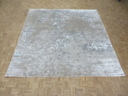 10'2 X 10'3 Square Hand Knotted Gray Modern Tibetan Oriental Rug With Silk G6823