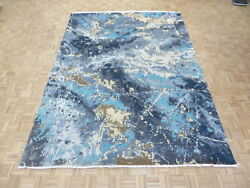 9 X 12'2 Hand Knotted Blue Modern Absract Wool And Silk Oriental Rug G6896