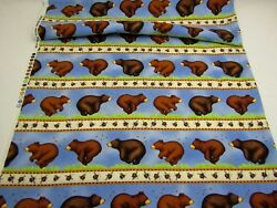 Timeless Treasures Cotton Border Fabric Quilt Craft Bears Bumblebees Stripes BTY