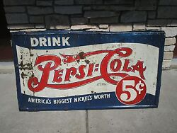 Rare Vintage Pepsi 5 Cent Sign, Embossed, Double Dot 1939-1940 Large 52 X 34 Htf