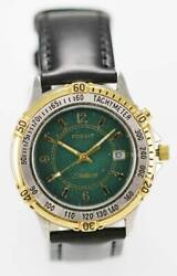 Fossil Watch Mens Silver Gold Stainless Leather Black 30m Green Date Light Quart