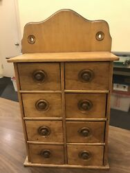 Vintage Antique Wooden Spice Rack - 8 Drawer Circa 1920and039s