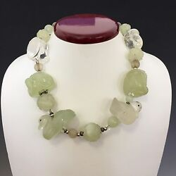 Vintage Amy Kahn Russell Bowenite And Rock Crystal Necklace Sterling Monkey Ducks