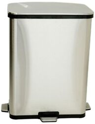 Trash Can 13 Gal. Fingerprint-Proof Stainless Steel Step-Sensor with Handles
