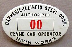 1940and039s Wwii Carnegie-illinois Steel Irvine Employee Pinback Button Home Front +