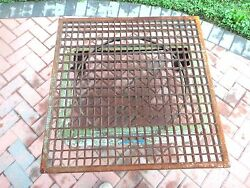 Antique Victorian 34 1/8 Square Cast Iron Floor Grate Cocktail Table Top Heavy