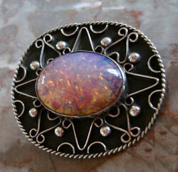 Mexico Foil Opal Harlequin Glass Pendant Pin Authentic Signed Eagle 1960-1970