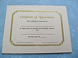 14 Gold Embossed Parchment Paper Certificate Of Appreciation New