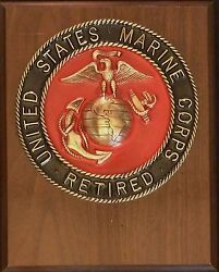Us Marine Corps Retired Solid Brass Emblem 6 1/2 Painted Insignia Plaque