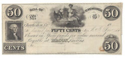 18__ Bill Of Exchange Note Sc To Macon Ga Fifty Cent Note Unlisted