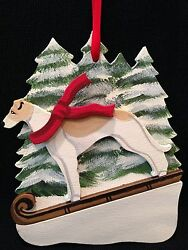 Tan/white Greyhound Dog Wooden Ornament Made In Usa New
