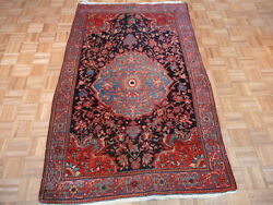 4'5 X 7'2 Hand Knotted Navy Blue Antique Persian Sarouk Oriental Rug G1890