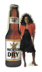 Vintage Michelob Dry Beer Metal Sign Bottle And Woman 35 X 20
