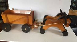 Vintage Toy By Siso 2 Wooden Horses Pulling A Wooden Wagon