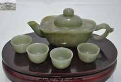 Antique Old Chinese Palace Hetian Cyan Jade Carved Dragon Teapot Tea Set Cup Set