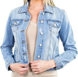 Women's Juniors Premium Distressed Denim Long Sleeve Jacket