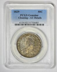 1829 Capped Bust Half Dollar, Pcgs Genuine - Cleaning - Au Details
