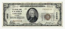 Chicago Illinois Il 20 National Bank Note 1929 Series Type 1 Ch 4605