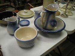Antique Fishscales And Wild Rose 6 Piece Blue And White Bedroom/bathroom Set Mint