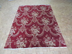 9' X 12'2 Hand Knotted Red Jewel Agra Oriental Rug Wool And Silk G4981