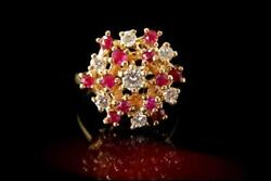 VINTAGE PINK RUBY DIAMOND 14K GOLD CLUSTER RING A808-40
