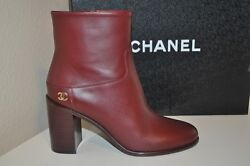 Nib 16a Burgundy Leather Cc High Block Heel Short Ankle Boot Bootie 35.5