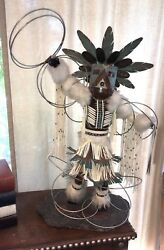 Vintage Native American Hoop Dancer Statue 32 Tall Copper, Leather Beaded