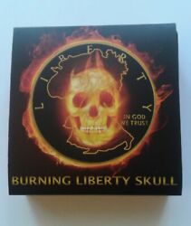 2015 American Silver Eagle Burning Liberty Skull In Wooden Display Case And Coa