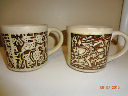 Pair Of Vintage Stoneware Pottery Coffee Cup Mugs Egyptian Aztec Mayan Theme