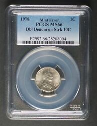 1978 Double Denomination Error - Penny Cent Struck On Dime Pcgs Ms66 1st Known
