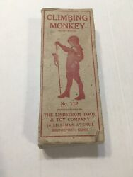 Vintage Lindstrom Tool And Toy Company 112 Climbing Monkey In Box Works