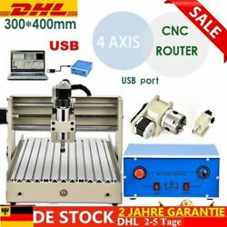 4 AXIS 3040 USB Router Engraving Drilling Mill Machine Cutter 400W 8000PRMM Neu