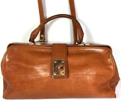 Georgetown Leather Design Brown Doctor Satchel-Made In Italy- Distressed