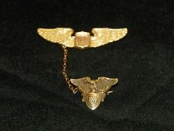 Vintage And Co. Us Military Academy Pin 1929 Badge Wings Shield 14k