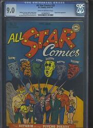 All Star Comics 32 Cgc Vf/nm 9.0 Cm-ow Psycho Pirate Returns