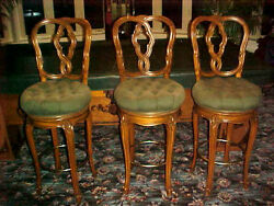3 Antique Hand Carved Swival Bar Stools Or Pool Table Stools In Fruitwood Wow