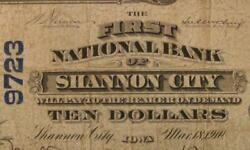 Shannon City Iowa Ia 1902 Pb 10.00 Ch. 9723 The First National Bank